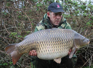 Ian Stott, Wellington Country Park, Small Tailed Common 48lb 3oz using 14lb Mirgae mainline and size 5 Chod hooks